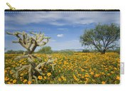 Mexican Golden Poppy Flowers And Cactus Carry-all Pouch