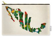 Mexico Typographic Watercolor Map Carry-all Pouch by Inspirowl Design