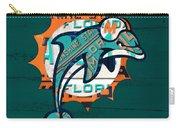 Miami Dolphins Football Team Retro Logo Florida License Plate Art Carry-all Pouch