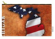Michigan Amercian Flag State Map Carry-all Pouch