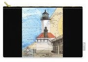Michigan City Lighthouse In Nautical Chart Map Art Cathy Peek Carry-all Pouch