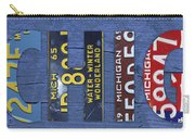 Michigan License Plate Art Lettering Carry-all Pouch