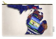 Michigan Map Art With Flag Design Carry-all Pouch