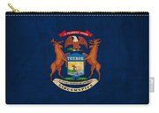 Michigan State Flag Art On Worn Canvas Carry-all Pouch