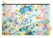 Mike Bloomfield Playing The Guitar - Watercolor Portrait Carry-all Pouch