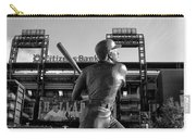 Mike Schmidt Statue In Black And White Carry-all Pouch by Bill Cannon