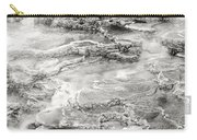 Minerva Springs In Black And White Yellowstone National Park Wyoming Carry-all Pouch