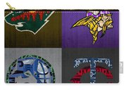 Minneapolis Sports Fan Recycled Vintage Minnesota License Plate Art Wild Vikings Timberwolves Twins Carry-all Pouch