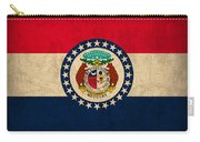 Missouri State Flag Art On Worn Canvas Carry-all Pouch