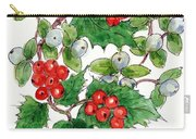 Mistletoe And Holly Wreath Carry-all Pouch