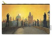 Misty Dawn Charles Bridge Prague Carry-all Pouch by Richard Harpum