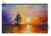 Misty Ship - Palette Knife Oil Painting On Canvas By Leonid Afremov Carry-all Pouch