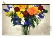Mixed Bouquet Of Tropical Colored Flowers On Textured Vignette Oil Painting Carry-all Pouch