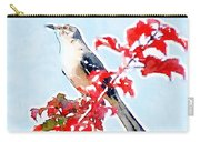Mockingbird In The Leaves - Watercolor Carry-all Pouch