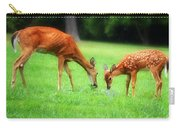 Mom Sharing A Snack With Her Baby Fawn Carry-all Pouch