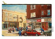 Monkland Street Hockey Game Montreal Urban Scene Carry-all Pouch by Carole Spandau