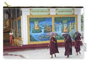 Monks In Rain At Shwedagon Paya Temple Yangon Myanmar Carry-all Pouch