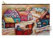 Mont St.hilaire Going Towards The Village Quebec Winter Landscape Paintings Carole Spandau Carry-all Pouch