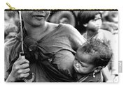 Montagnard Woman With Umbrella And Child Carry-all Pouch