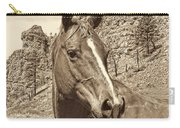 Montana Horse Portrait In Sepia Carry-all Pouch
