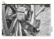 Montana Old Wagon Wheels Monochrome Carry-all Pouch by Jennie Marie Schell