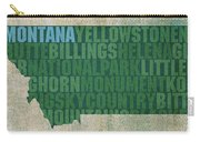 Montana Word Art State Map On Canvas Carry-all Pouch