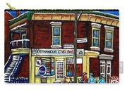 Montreal Art Hockey Paintings Chez Bert Depanneur The Pointe Verdun City Scene Carole Spandau  Carry-all Pouch