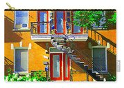 Montreal Art Seeing Red Verdun Wooden Doors And Fire Hydrant Triplex City Scene Carole Spandau Carry-all Pouch