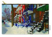 Montreal Art Streets Of Verdun Winter Scenes Winding Staircases Snowscenes Carole Spandau Carry-all Pouch