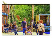 Montreal Art Summer Cafe Scene Rue Laurier Family Day Wagon Ride City Scene Art By Carole Spandau Carry-all Pouch