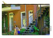 Montreal Art Summer Stroll By Blue Winding Staircase Verdun Homes Balcony Scene Carole Spandau Carry-all Pouch