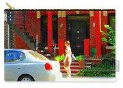 Montreal Art Summer Stroll On A Sunny Morning Colorful Street Verdun City Scene Carole Spandau Carry-all Pouch