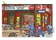 Montreal Hockey Paintings At The Corner Depanneur - Piche's Grocery Goosevillage Psc Griffintown  Carry-all Pouch