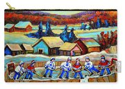 Montreal Memories Rink Hockey In The Country Hockey Our National Pastime Carole Spandau Paintings Carry-all Pouch