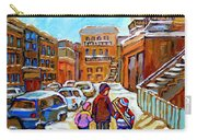 Montreal Paintings Winter Walk Past The Old School Snowy Day City Scene Carole Spandau Carry-all Pouch