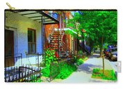 Montreal Stairs Shady Streets Winding Staircases In Balconville Art Of Verdun Scenes Carole Spandau Carry-all Pouch