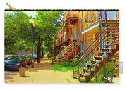 Montreal Stairs Winding Staircases And Sunny Tree Lined Sidewalks Verdun Scenes Carole Spandau  Carry-all Pouch