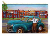 Montreal Taxi Driver 1940 Cab Vintage Car Montreal Memories Row Houses City Scenes Carole Spandau Carry-all Pouch