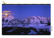 Moon Sets Over Behind The Tetons Panorama Carry-all Pouch