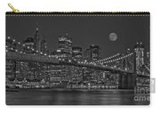 Moonrise Over The Brooklyn Bridge Bw Carry-all Pouch by Susan Candelario