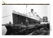 Morning Fog Russian Sub And Queen Mary 02 Bw Carry-all Pouch