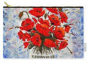 Morning Red Poppies Original Palette Knife Painting Carry-all Pouch