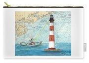 Morris Island Lighthouse Sc Nautical Chart Map Art Carry-all Pouch