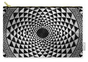 Mosaic Circle Symmetric Black And White Carry-all Pouch
