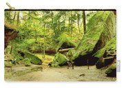 Moss Covered Rocks In Forest, Rocky Carry-all Pouch