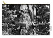 Moss On The Evergreens II In Black And White Carry-all Pouch