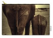 Mother And Baby Elephant In Black And White Carry-all Pouch