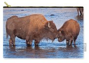 Mother And Calf Bison In The Lamar River In Yellowstone National Park Carry-all Pouch