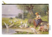 Mother And Child With Geese Carry-all Pouch