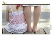 Mother And Daughter On A Wooden Board Walk Carry-all Pouch